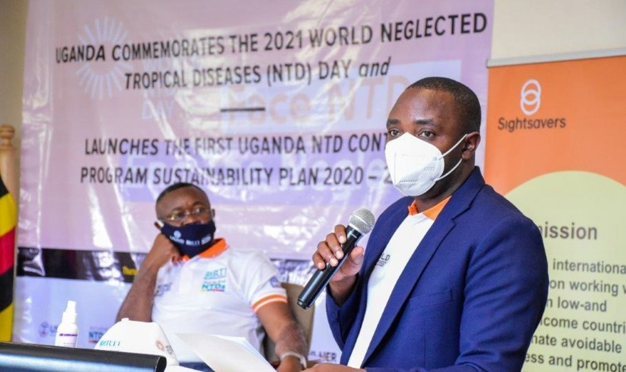Wilberforce Owembabazi, Program Management Specialist for the Global Health Security Agenda, USAID Mission to Uganda gives remarks at the launch of Uganda's sustainability plan for NTDs