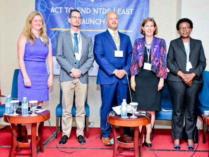 Representatives gather at the launch of USAID Act to End NTDs East program