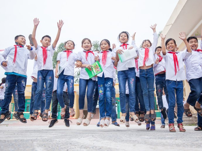Children celebrate at a school in Vietnam