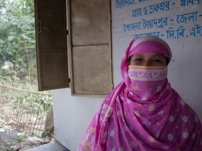 A healthworker is shown during an NTD activity in Bangladesh