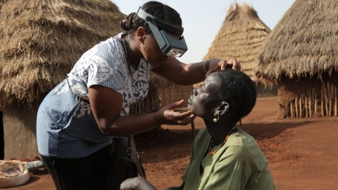 A woman has her eyes checked for trachoma in Ethiopia