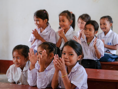 Children in Laos during a survey for lymphatic filariasis.